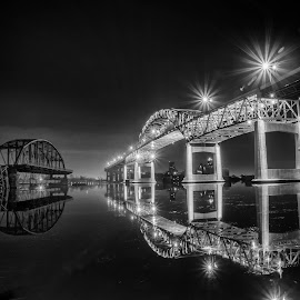Two eras by Bob  Jauch - Black & White Landscapes ( duluth, reflecton, superior, blatnick bridge, highbridge )