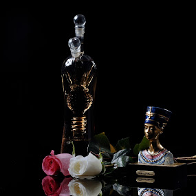 Rose, nefertiti, Bottle by Cristobal Garciaferro Rubio - Artistic Objects Other Objects ( rose, reflection, tequila, nefertiti, leaf, bottle, leaves, pwcmirror-dq, petal )