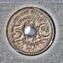 5 Centimes by Michael McMurray - Artistic Objects Antiques ( liberte, coin, copper-nickel, 1917, french, coin flip, money, fraternite, france, numismatics, egalite, world war i era, hole,  )