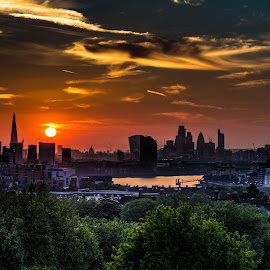 Greenwich Park by Chris James - City,  Street & Park  Skylines ( shard, thames, london, park, sunset, greenwich )
