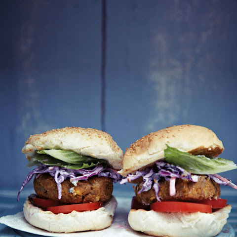 Mile-high Chickpea Burgers With Purple Coleslaw