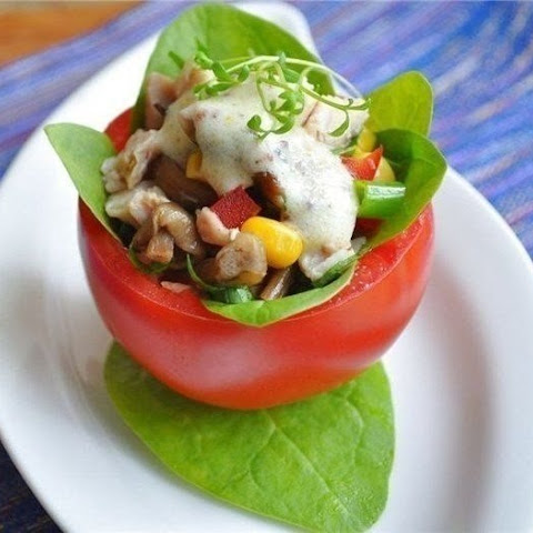 Tomatoes Stuffed With Chicken Salad And Mushrooms