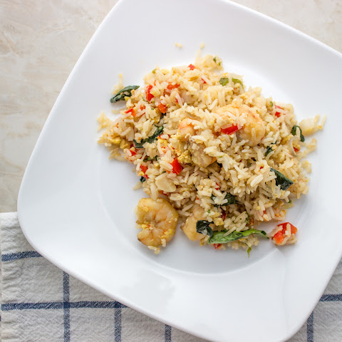 Thai Spicy Basil Fried Rice With Shrimip