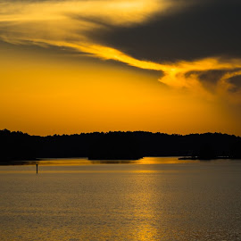 Soar on Wings Like Eagles by Tom Moors - Landscapes Cloud Formations ( bird, clouds, richard b. russell lake, eagle, wings, sunset, georgia, lake, isaiah 40:31, soar, inspirational )