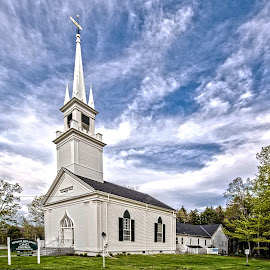 Country Church by Richard Michael Lingo - Buildings & Architecture Places of Worship ( maine, steeple, buildings, church, architecture )