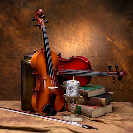 Still Life with Violins by Rakesh Syal - Artistic Objects Musical Instruments