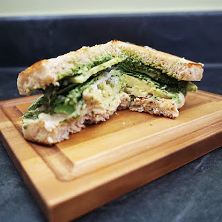 Mean And Green Pesto And Avocado Sandwich