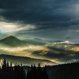 Sunset by Ovidiu Domsa - Landscapes Mountains & Hills ( clouds, mountains, mountain, sunset, colors, landscapes, landscape, sunlight, light, rain )