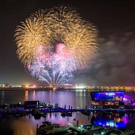 Fireworks by Mauritz Janeke - Public Holidays July 4th ( yas island, yes viceroy, uae, mauritz, fireworks, nightscape )