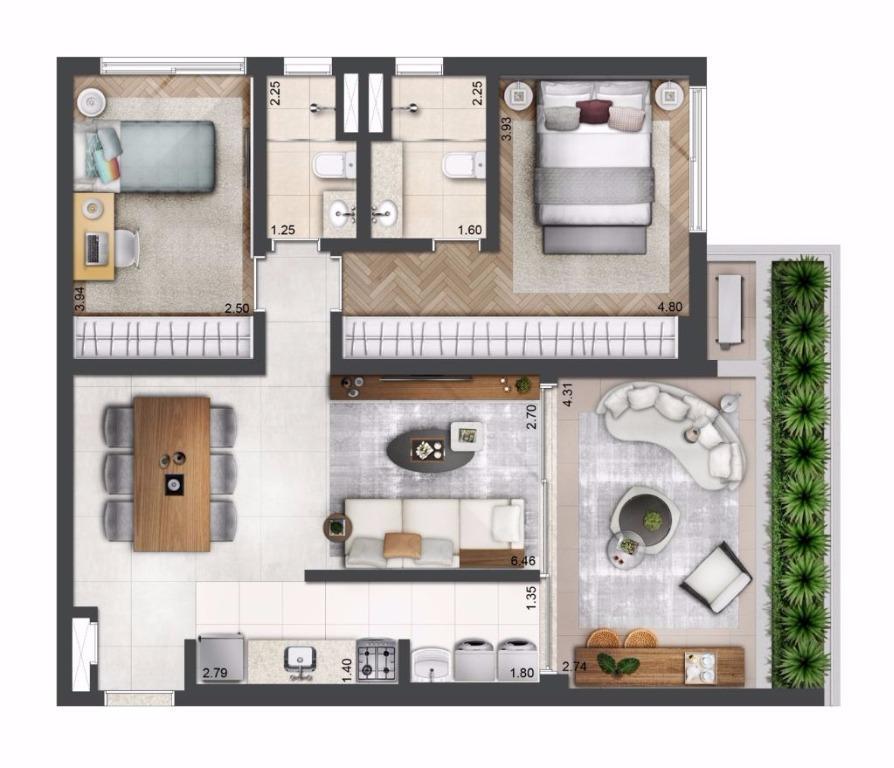 Planta Tipo - 89 m²