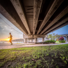 by Ah Wei (Lung Wei) - Buildings & Architecture Bridges & Suspended Structures ( samyang, fisheye, sunrises, george town, penang bridge, penang island, malaysia, run, landscape, people, sun, portrait, samyang 12mm f2.8, samyang 12mm f/2.8 ed as ncs fisheye, george town penang, pulau pinang, movement, penang, sunrise )