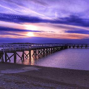 Purple sky by Ann Goldman - Novices Only Landscapes ( purple pier sunset,  )
