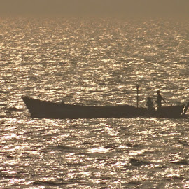 The boat  by Jaitri Sharma - Nature Up Close Water ( water, sunset, sea, boat, fishing boat )