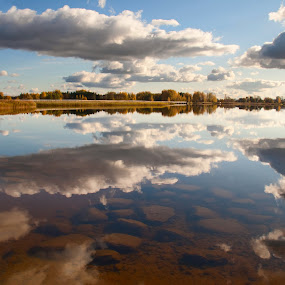 Sky is falling by Eugenijus Rauduve - Landscapes Waterscapes ( clouds, lake, stones )