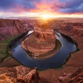 Breakthrough by Ryan Moyer - Landscapes Caves & Formations ( lake powell, page, sunset, arizona, canyon, river )