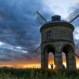 Chesterton Windmill by Mike Campbell - Buildings & Architecture Public & Historical ( clouds, chesterton, kissing, 2016, leamington, love, warwickshire, sky, southam, sunset, couple, harbury, hjuly, warwick, evening, windmill, spa )