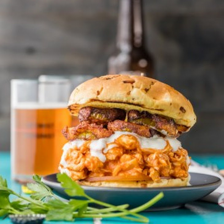 Slow Cooker Buffalo Chicken Sandwiches with Ranch Fried Pickles