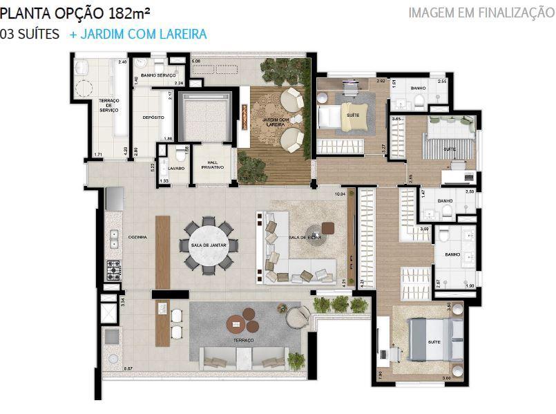 Plana 182 m² do 2 ao 18 Pavimento Finais 1 e 2 Opção + Jardim com Lareira