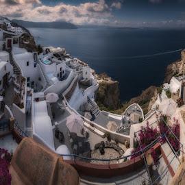 Panorama view  by Krasimir Lazarov - City,  Street & Park  Vistas ( panorama, greece, island, santorini, vista, landscape, architecture )