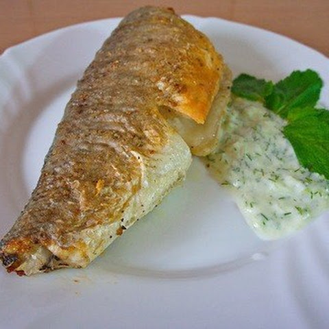 Grilled sea Bass with sauce «Tzatziki»
