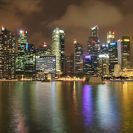 A night in Singapore by Sajal Gupta - City,  Street & Park  Skylines ( great, bay, marina, singapore, nightscape )