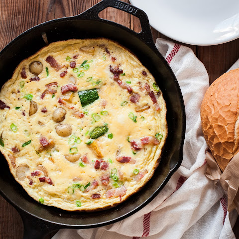 French Omelette with Bacon, Potatoes and Courgettes