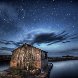 Fish House by Zach Hanson - Landscapes Starscapes ( harbour, minnesota, lake superior, stars, long exposure, water )