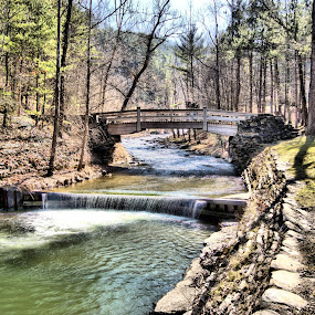 Bridge over stoney brook by Jim Davis - Landscapes Waterscapes ( stream, state park, creek, water falls, forest, tourism, bridge, hiking )
