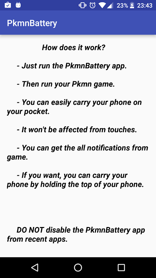 Save your battery for pokemon Screenshot