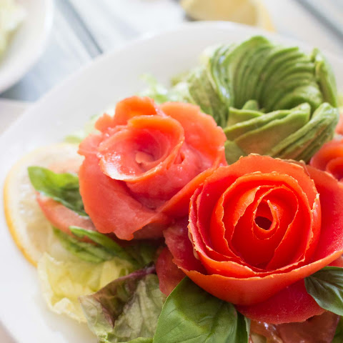 Smoked Salmon, Tomato, and Avocado Rose Salad