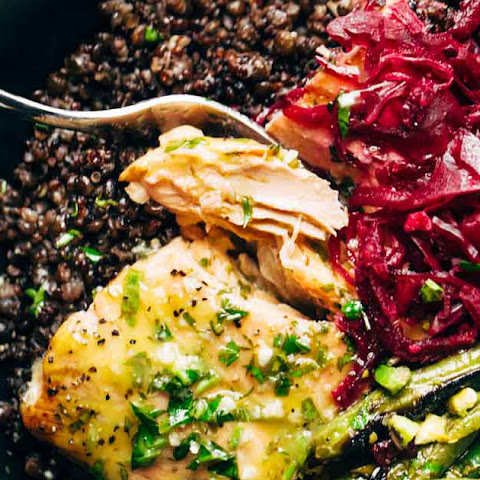 Perfect Baked Salmon with Lentils and Lemon Herb Sauce