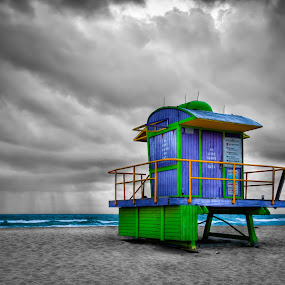 Miami Beach Lifeguard Tower by Tim Azar - Landscapes Travel ( photomatixpro4, hdr, purple, green, miami, yellow, architecture, beach, lifeguard tower, south beach, miami beach, florida, cloudy )