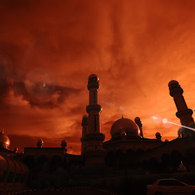 Jame' Asr  by Mohamad Sa'at Haji Mokim - Buildings & Architecture Places of Worship ( sky, sunset, mosque, flare, brunei )