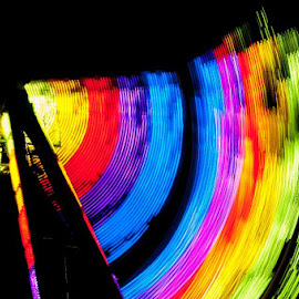 Colorful Pendulum by Amanda Lehning - Abstract Patterns ( abstract, lights, ride, color, nighttime,  )