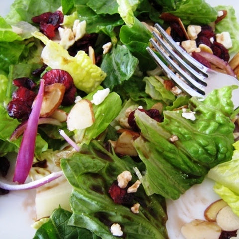 Romaine and Cranberry Salad with Feta, Balsamic, and Almonds