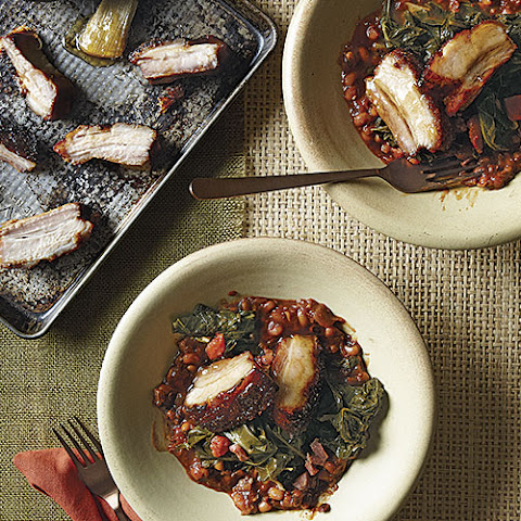 Honey-Tabasco Pork Belly with Black-Eyed Peas and Collard Greens