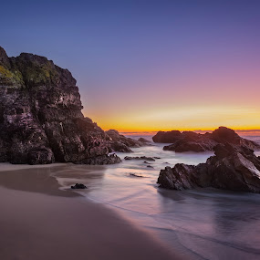 Anticipation by Rebecca Ramaley - Landscapes Waterscapes ( burgess beach, australia, seascape, sunrise, rocks,  )