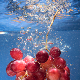 Grape Shot  by Paul Putman - Food & Drink Fruits & Vegetables ( water, drop shot, colour, speedlight, grapes, bubbles )