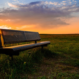 Prairie Sunset by Garces & Garces - City,  Street & Park  City Parks ( hill, park, bench, canada, sunset, saskatchewan, summer, landscape, prairie, regina )