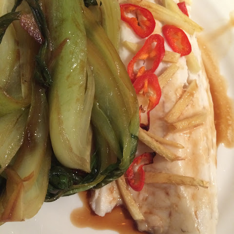 Steamed Sea Bass With Ginger And Chilli; Soy Pak Choi On The Side