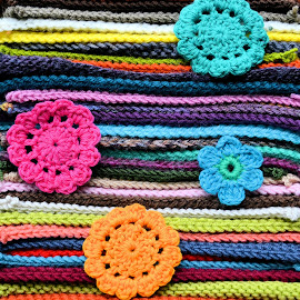 Craftwork by Heather Aplin - Artistic Objects Clothing & Accessories ( craft, colourful, squares, color, colorful, crochet, knitting, multicolor, knit, flowers, wool, multicolour )