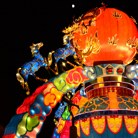 Chinese Lantern Festival by Del Candler - Artistic Objects Other Objects ( lantern, orange, moon, red, oriental, horses, blue, festival, night, balloon,  )