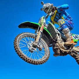 Blue in Blue  by Dragan Rakocevic - Sports & Fitness Motorsports ( blue sky, motocross, sport, motorcycle, motorsport, competition )