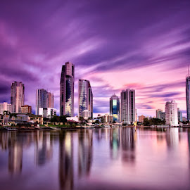 Surfers Paradise by Drew Hopper - City,  Street & Park  Skylines ( urban, reflection, queensland, gold coast, surfers paradise, australia, buildings, long exposure, architecture, cityscape, surreal )