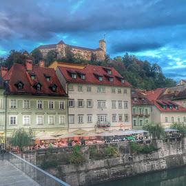 Ljubljana castle by Mario Horvat - Instagram & Mobile iPhone ( clouds, ljubljana, castle, snapseed, river )