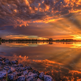 Sunny by Casey Mitchell - Landscapes Sunsets & Sunrises ( sunsets, sunset, lake, rocks, pond,  )