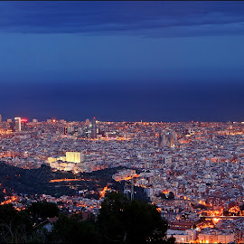 Barcelona by Joe Balynas - City,  Street & Park  Skylines ( spain, cities, night, barcelona )