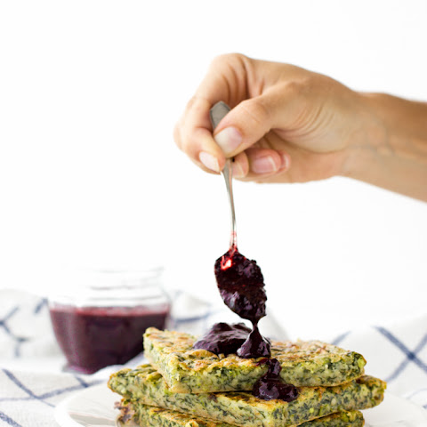 Spinach And Pea Pancake + Raw Blueberry Chia Marmalade
