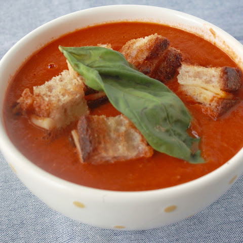 Roasted Tomato Soup w/ Grilled Cheese Croutons