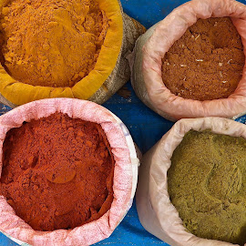 FOUR SPICES by Doug Hilson - Food & Drink Ingredients ( market, colorful, wholesale, india, spices, bags )